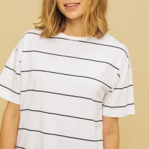 코튼 완성의 보더 T셔츠에, 큐스이소쿠켄키노와 UV 케어 기능을 갖춘 우수해라 것